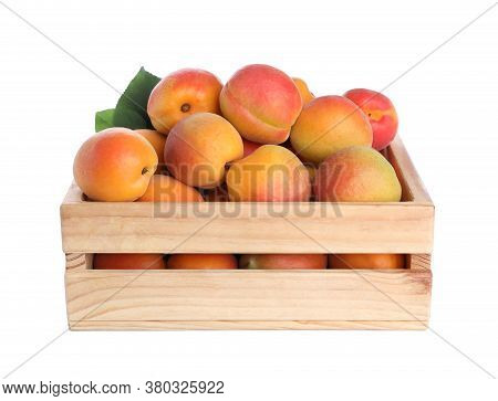 Delicious Ripe Apricots In Wooden Crate Isolated On White