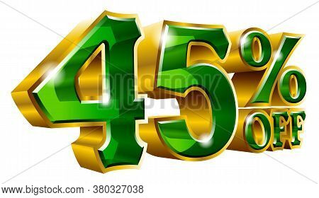 45% Off - Forty Five Percent Off Discount Gold And Green Sign. Vector Illustration. Special Offer 45
