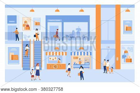 Department Store Interior With Customers. People Shopping In City Mall, Walking Through Building Hal