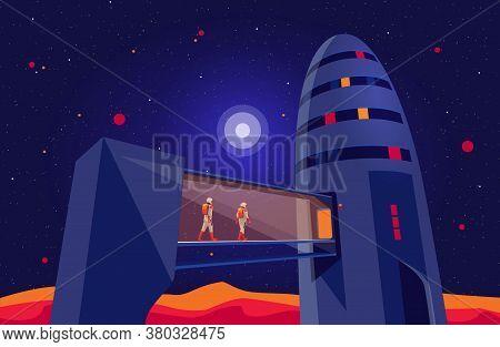 Astronauts Passengers Crew Entering Boarding Space Starship Rocket Vehicle On Launchpad Shuttle Depa