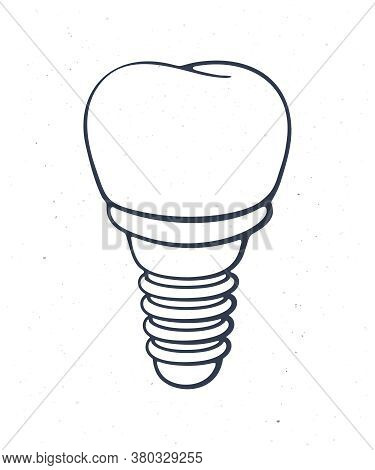 Dental Implant Of Human Tooth. Outline. Vector Illustration. Symbol Of Somatology And Oral Hygiene.