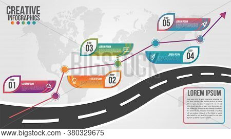 World Map Business Infographics 5 Step Options Vector Illustration And Design Template With Road Tim