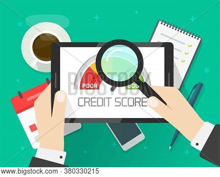 Credit Score Rating Report Analysis Check, Person Research Financial History Accounting Information