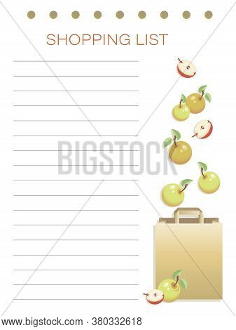 Shopping List. Apples. Vector Personalized Fruit Shopping List. Simple Flat Design Memo Pages. To Do