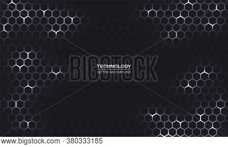 Dark Technology Hexagonal Vector Background. Abstract White Bright Energy Flashes Under Hexagon In D