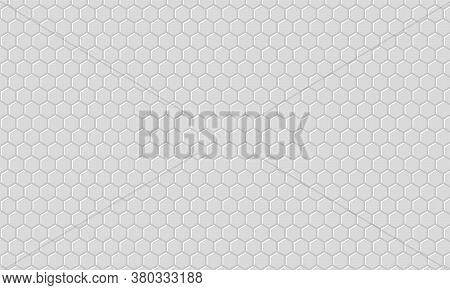 Gray Hexagonal Textured Background. Light Hexagon In Gray Background. Gray Honeycomb Texture Grid.