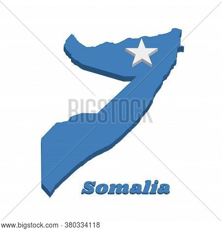 3d Map Outline And Flag Of Somalia, A Single White Five-pointed Star Centered On A Light Blue Field.