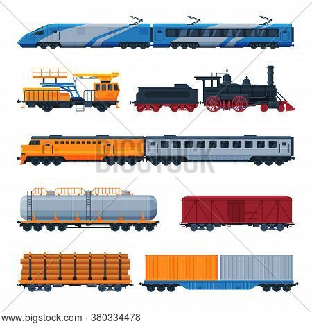 Trains Collection, Side View Of Passenger And Cargo Wagons, Railroad Transportation Flat Vector Illu