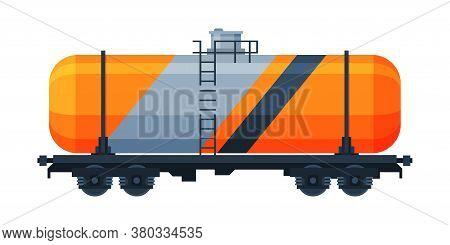 Railway Cistern, Freight Train, Side View, Railroad Transportation Flat Vector Illustration On White