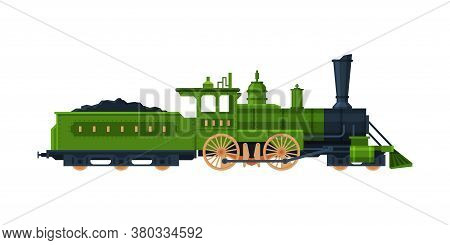 Old Train, Vintage Locomotive And Cargo Wagon Loadedwith Coal, Railroad Transportation Flat Vector I