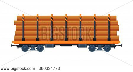 Loaded Cargo Train Wagon, Industrial Railroad Transportation Flat Vector Illustration On White Backg