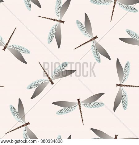 Dragonfly Childish Seamless Pattern. Repeating Dress Fabric Print With Flying Adder Insects. Close U
