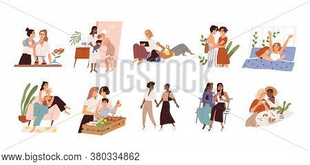 Set Of Diverse Homosexual Multiracial Lesbian Couples. International Gay Family Bundle With Children