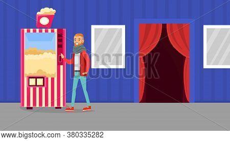 Young Man Buying Popcorn In Cinema Theatre, Popcorn Vending Machine Vector Illustration