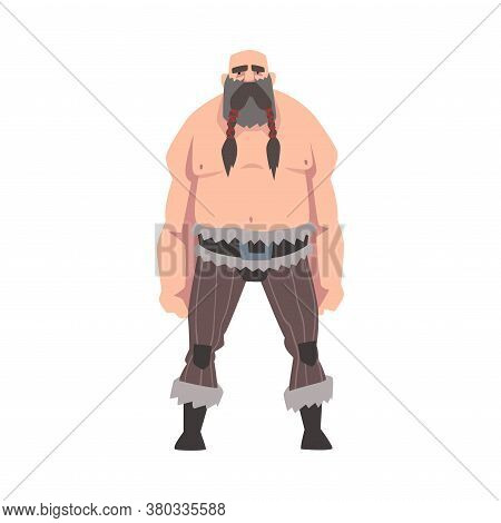 Strong Muscular Viking, Male Warrior Character With Bare Chest Vector Illustration