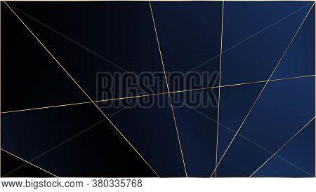 Blue Luxury Triangular Pattern. Silver Rich Vip Geometric Celebration Wallpaper. Gold Lines Polygon