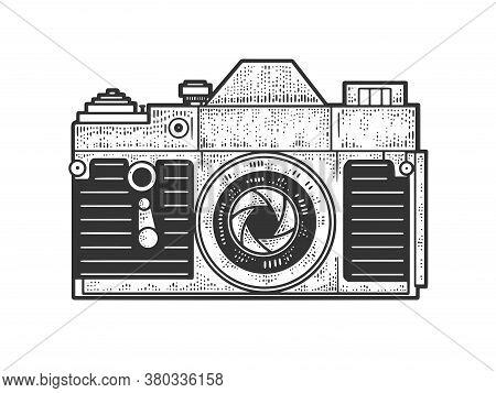 Old Photo Camera Sketch Engraving Vector Illustration. T-shirt Apparel Print Design. Scratch Board I
