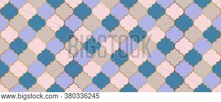 Ottoman Mosque Window Tile. Ramadan Kareem Muslim Decoration. Seamless Moroccan Design Eid Mubarak I