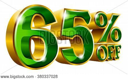 65% Off - Sixty Five Percent Off Discount Gold And Green Sign. Vector Illustration. Special Offer 65