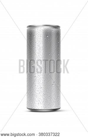 Vector 3d Realistic Aluminum Can With Water Drops Isolated On White Background. Empty Template Mocku