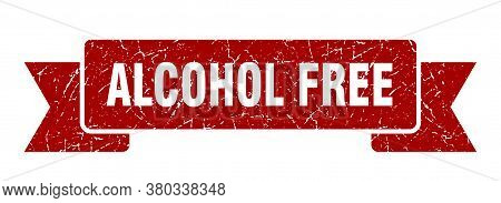 Alcohol Free Ribbon Sign. Alcohol Free Vintage Retro Band.