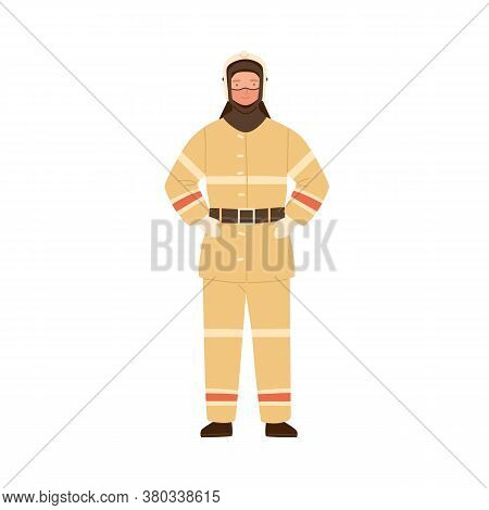 Firefighter, Fireman, Rescuer Man In Fireproof Protective Suit, Clothes, Uniform And Helmet. Emergen