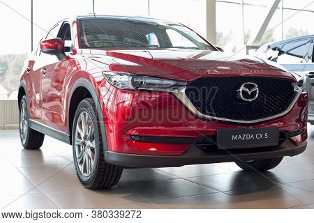 Russia, Izhevsk - August 06, 2020: Mazda Showroom. New Modern Crossover Cx-5. Front And Side View.