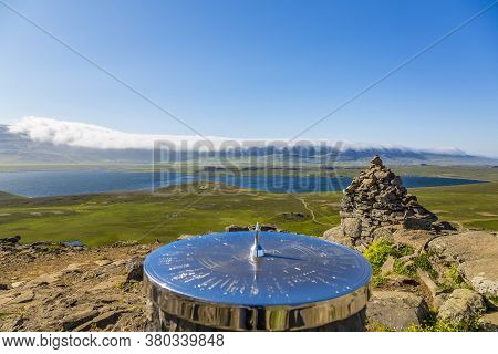 View On Vesturhopsvatn Lake On Iceland With Sundial In Summer Iceland In Summer During Daytime