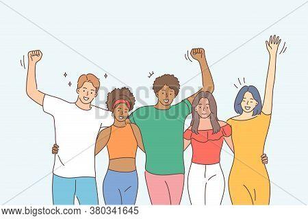 Friendship, Portrait, Multiethnicity Concept. Happy Men Women Boys Girls Teengares Multiethic Group