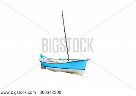 Blue Wooden Sailboat Isolated On White Background