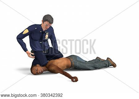 Stop Police Brutality - Stop Discrimination Against Blacks - A Policeman Chokes A Black Man Lying On