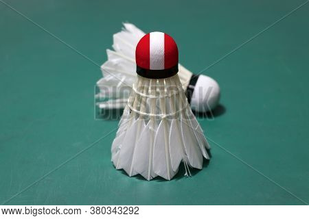 Used Shuttlecock And On Head Painted With Peru Flag Put Vertical And Out Focus Shuttlecock Put Horiz