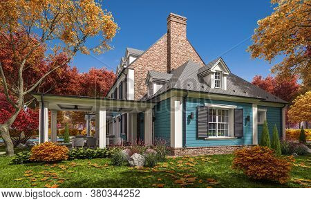 3D Rendering Of Modern Classic House In Colonial Style In Autumn Day