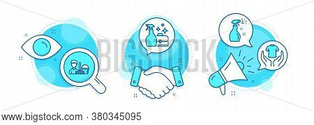 Cleaning Service, Cleanser Spray And Cleaning Spray Line Icons Set. Handshake Deal, Research And Pro