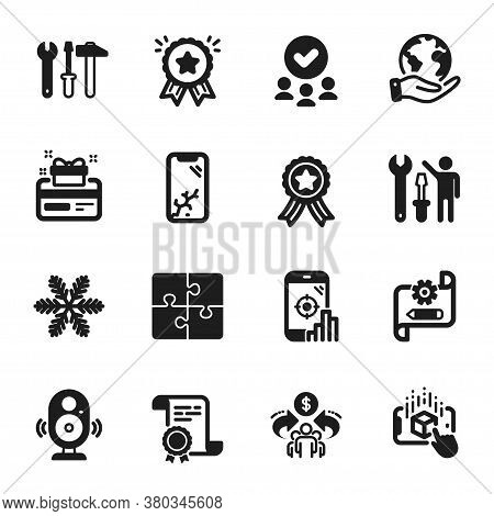 Set Of Technology Icons, Such As Sharing Economy, Repairman. Certificate, Approved Group, Save Plane