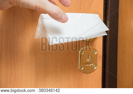 Napkin On The Door Handle To Protect Against The Virus, Things And Objects In Everyday Life And Huma