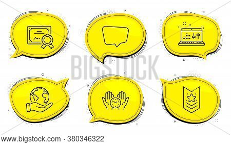 Shoulder Strap Sign. Diploma Certificate, Save Planet Chat Bubbles. Chat Message, Safe Time And Soun