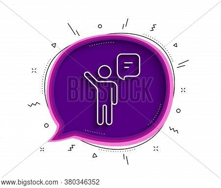 Agent Talk Line Icon. Chat Bubble With Shadow. Business Management Sign. Speech Bubble Symbol. Thin