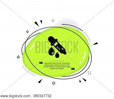 Chemistry Pipette Icon. Quote Speech Bubble. Laboratory Sign. Analysis Lab Symbol. Quotation Marks.
