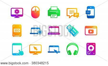 Laptop, Ssd And Headphones. Device Icons. Printer Classic Icon Set. Gradient Patterns. Quality Signs