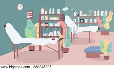Cosmetology Salon Flat Color Vector Illustration. Spa And Massage. Hair Removal And Sugaring Service