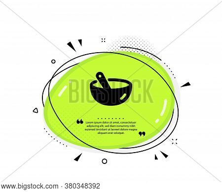 Cooking Mix Icon. Quote Speech Bubble. Bowl With Spoon Sign. Food Preparation Symbol. Quotation Mark