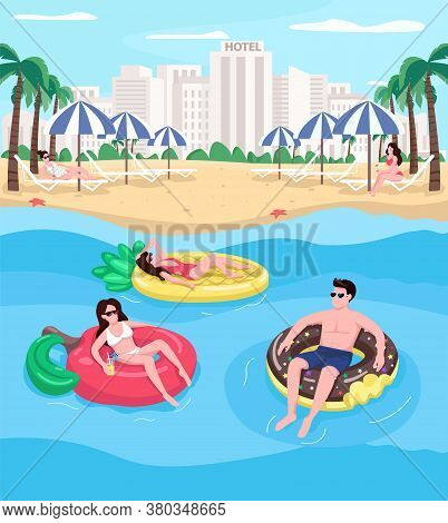 Young People Relaxing At Beach Flat Color Vector Illustration. People Floating On Air Mattresses. Do