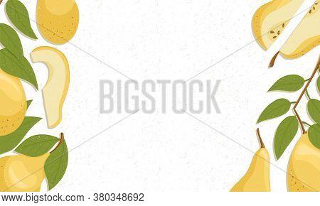 Pear Fruit Border Vector Cartoon Illustration. Yellow Sweet Pears Horizontal Banner Or Frame For Far