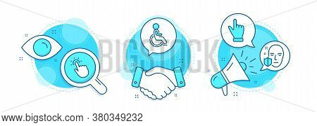 Disabled, Touchpoint And Click Hand Line Icons Set. Handshake Deal, Research And Promotion Complex I