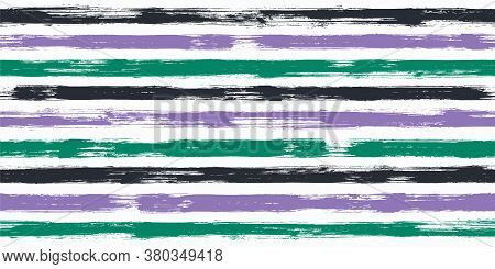 Bold Watercolor Brush Stripes Seamless Pattern. Ink Paintbrush Lines Horizontal Seamless Texture For