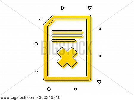 Delete Information File Sign. Remove Document Icon. Paper Page Concept Symbol. Yellow Circles Patter