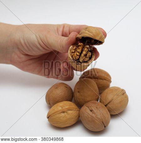 Macro Photo Of The Walnuts. One Broken Walnut. Tasty Vegan Nuts. Organic Diet Food. Healthy Deliciou