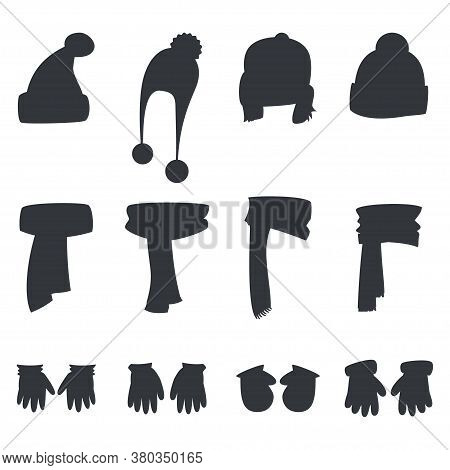 Winter Scarf, Hats, Gloves And Mittens Black Silhouettes Vector Set Isolated On A White Background.