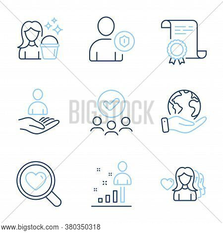 Stats, Woman Love And Search Love Line Icons Set. Diploma Certificate, Save Planet, Group Of People.